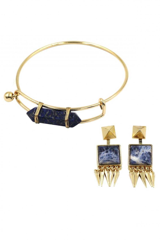 Fashion blue prism golden bracelet earrings set