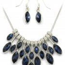Fashion blue crystal necklace earrings set
