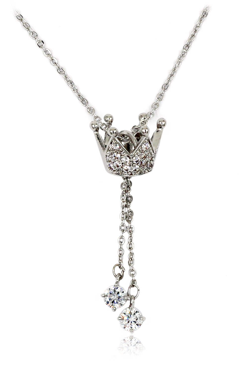 Little crown pendant crystal Sterling Silver Chain necklace