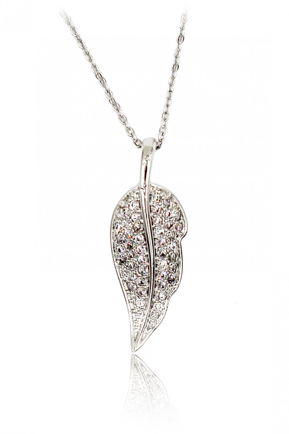 Delicate leaves crystal Sterling Silver Chain silver necklace