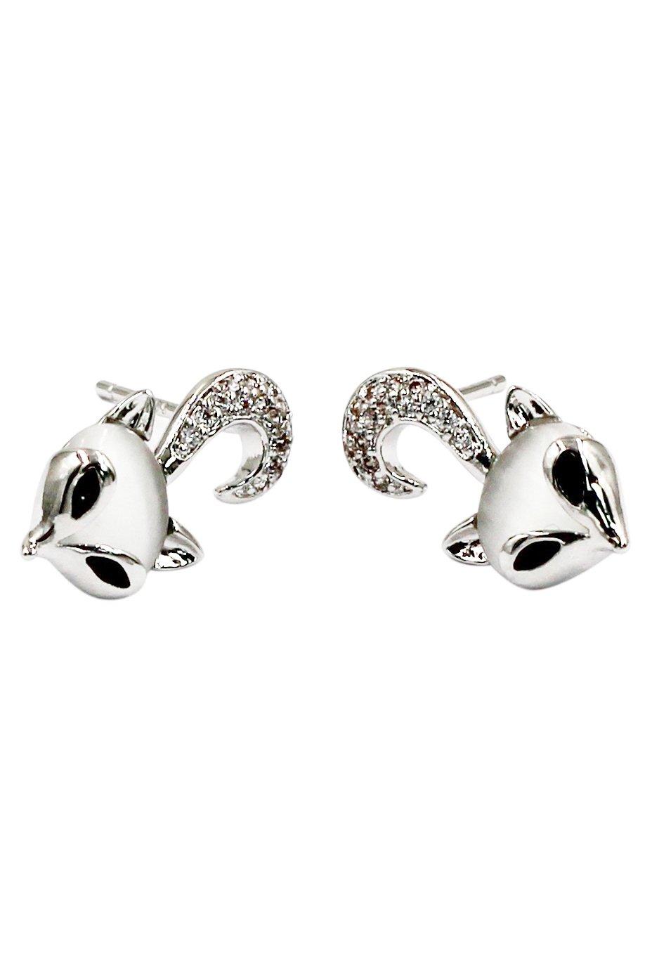 Mini cute little fox crystal silver earrings