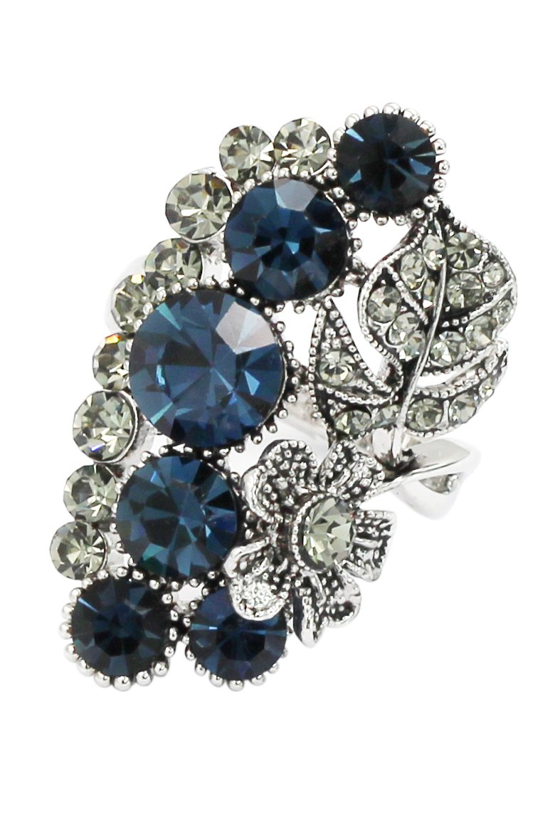 Elegant blue crystal flower and foliage silver ring