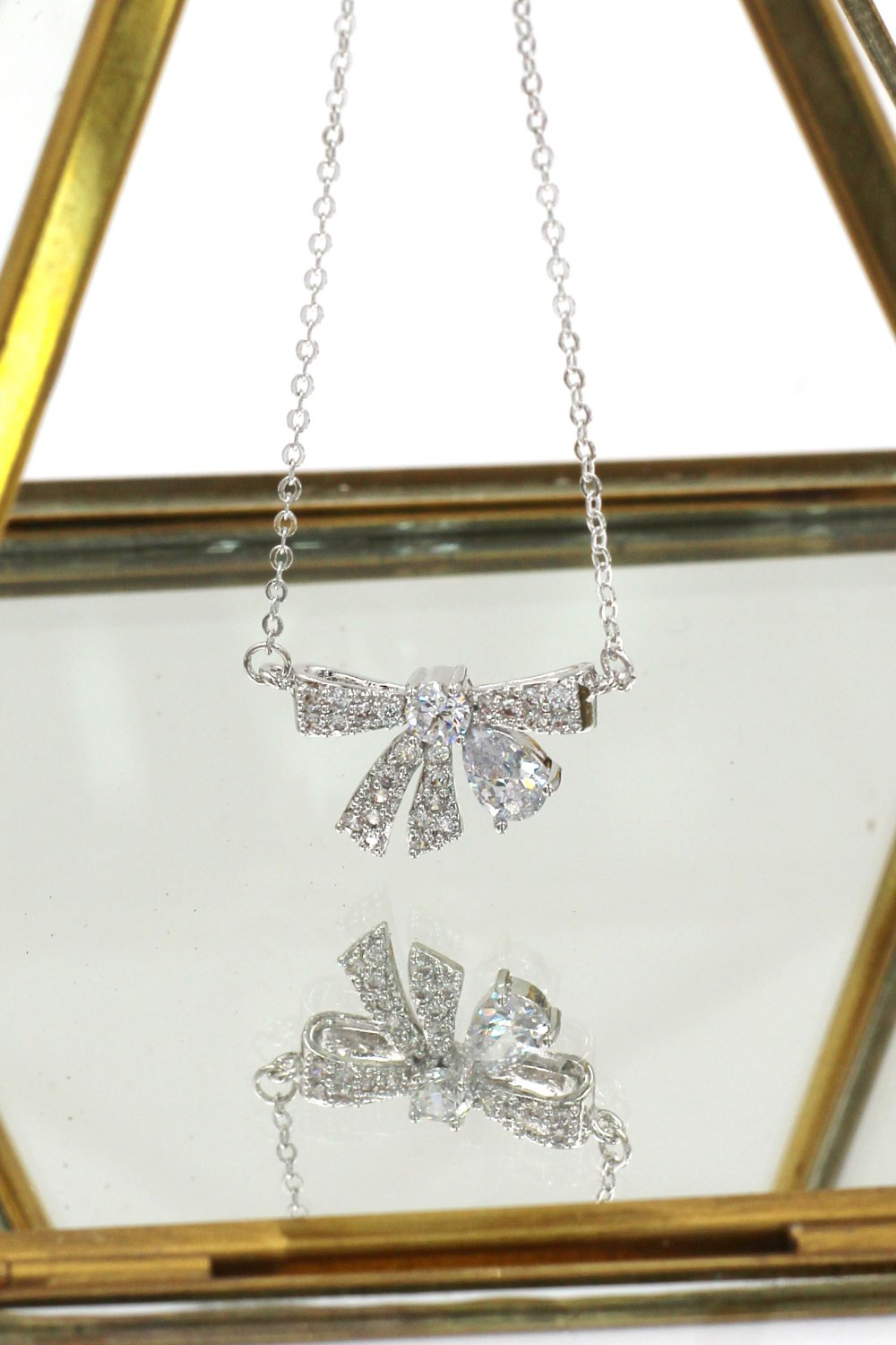 Fashion pendant crystal knot Sterling Silver Chain silver necklace