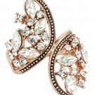 Elegant symmetry crystal rose gold ring
