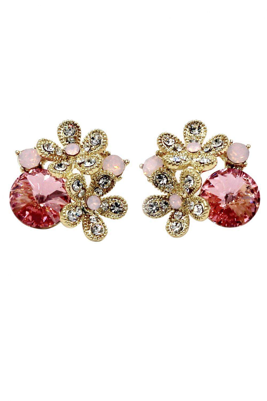 Beautiful golden flowers red crystal earrings