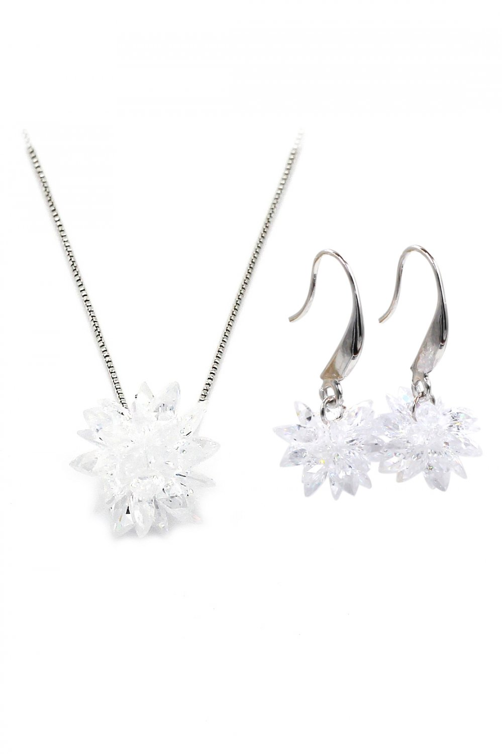 Fashion snowflake silver necklace pendant earrings set