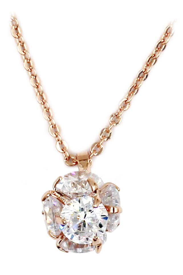 Mini crystal ball rose gold necklace