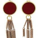 Simple wire tassel red earrings