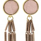 Simple wire tassel pink earrings