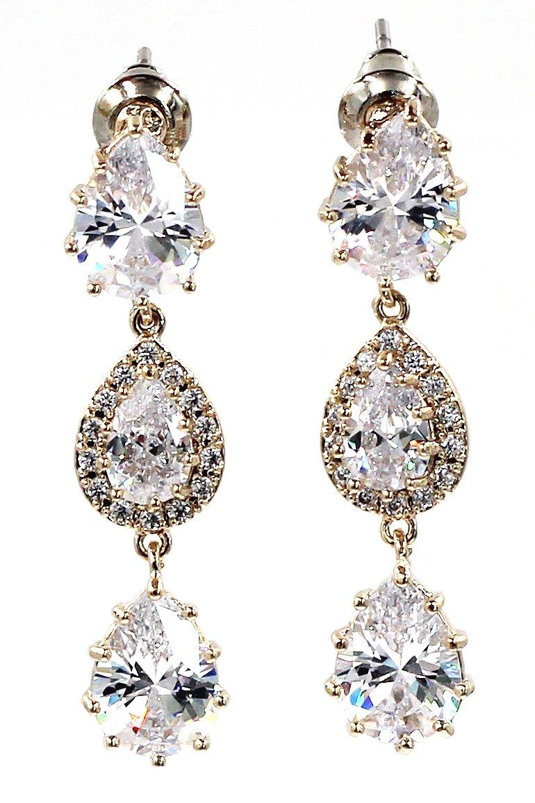 Shining pendant crystal gold earrings