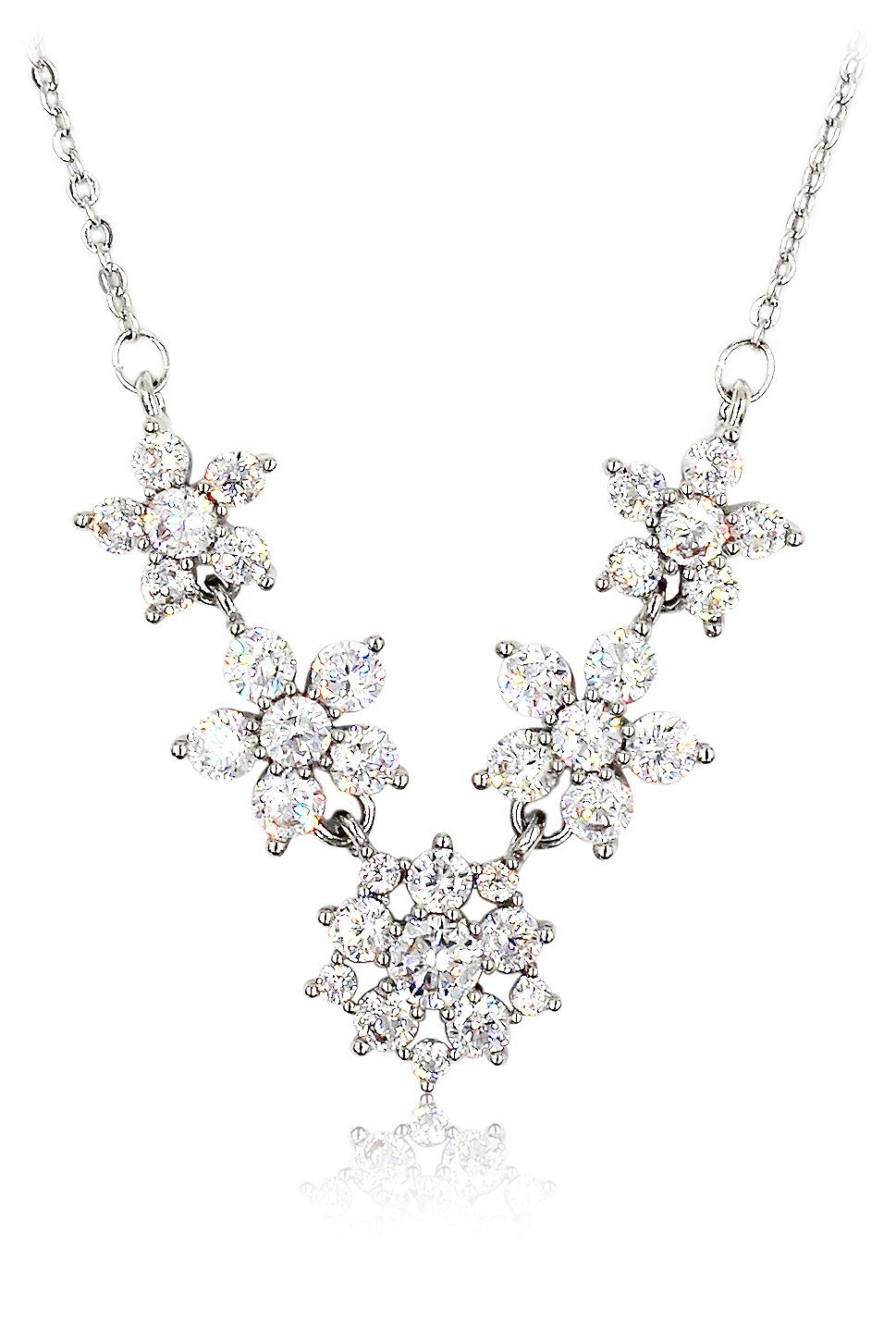 Mini crystal flowers clavicle silver necklace