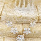 Mini crystal flowers clavicle Sterling Silver Chain gold necklace