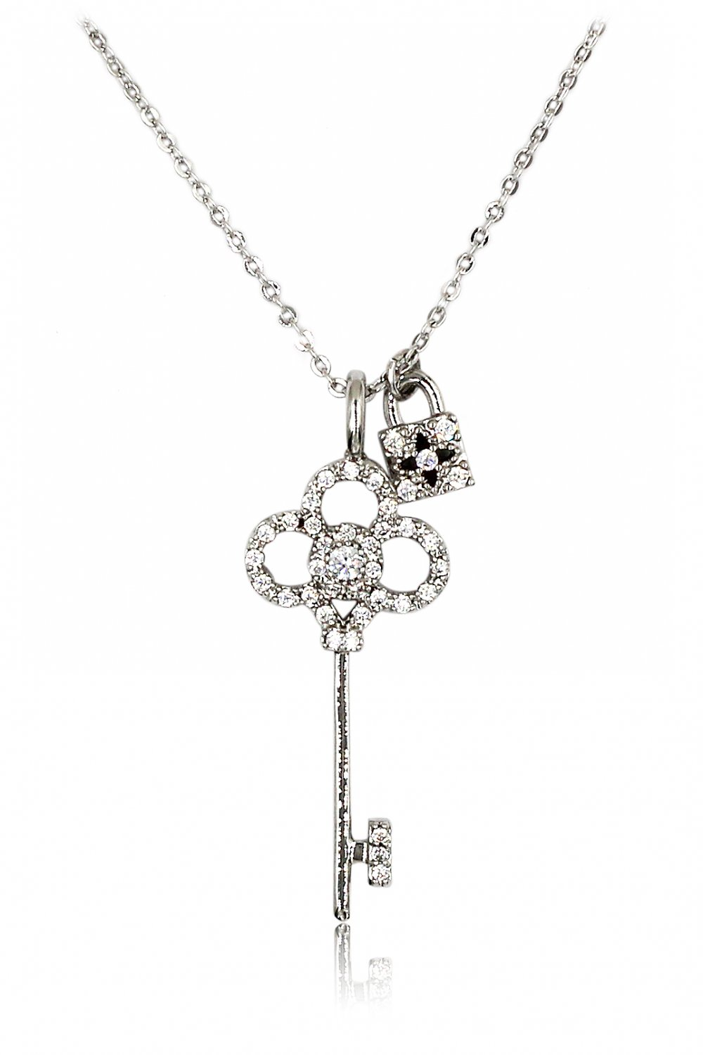 Delicate crystal key and lock silver necklace