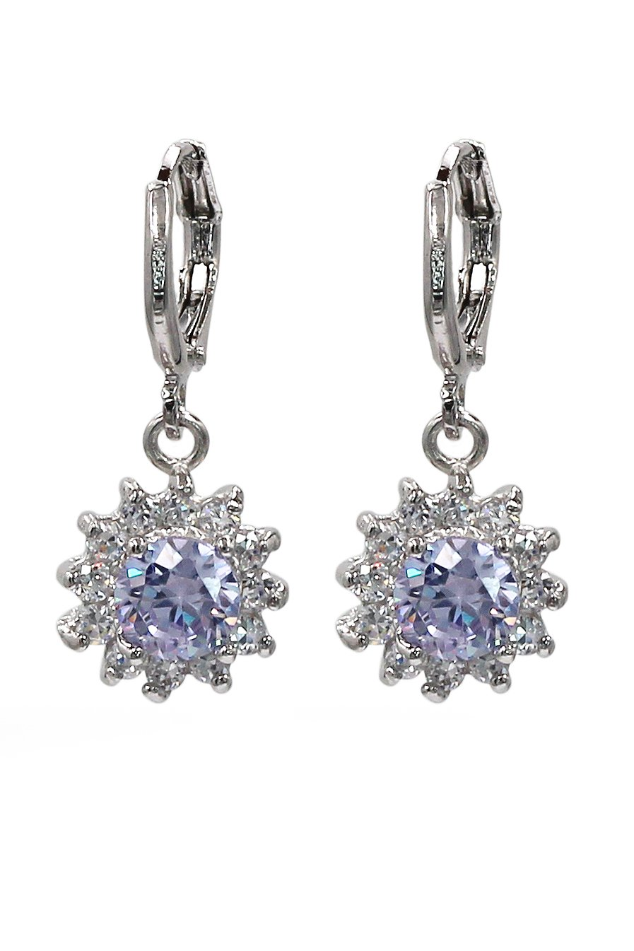 Lovely pendant color crystal sun silver earrings