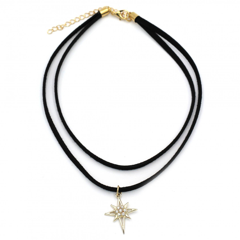 Fashion double-chain crystal pendant hexagram black choker