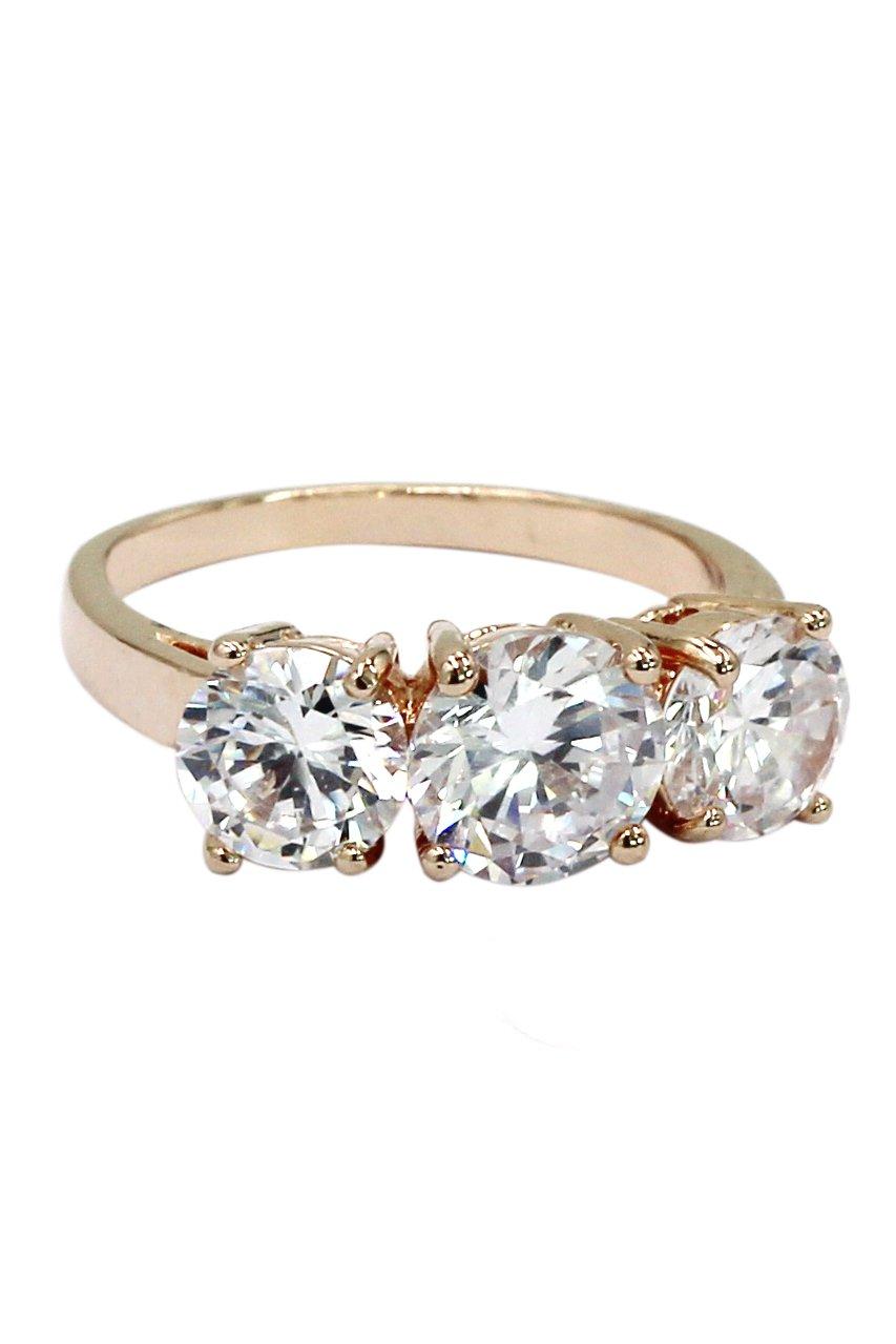 Shining round crystal rose gold ring