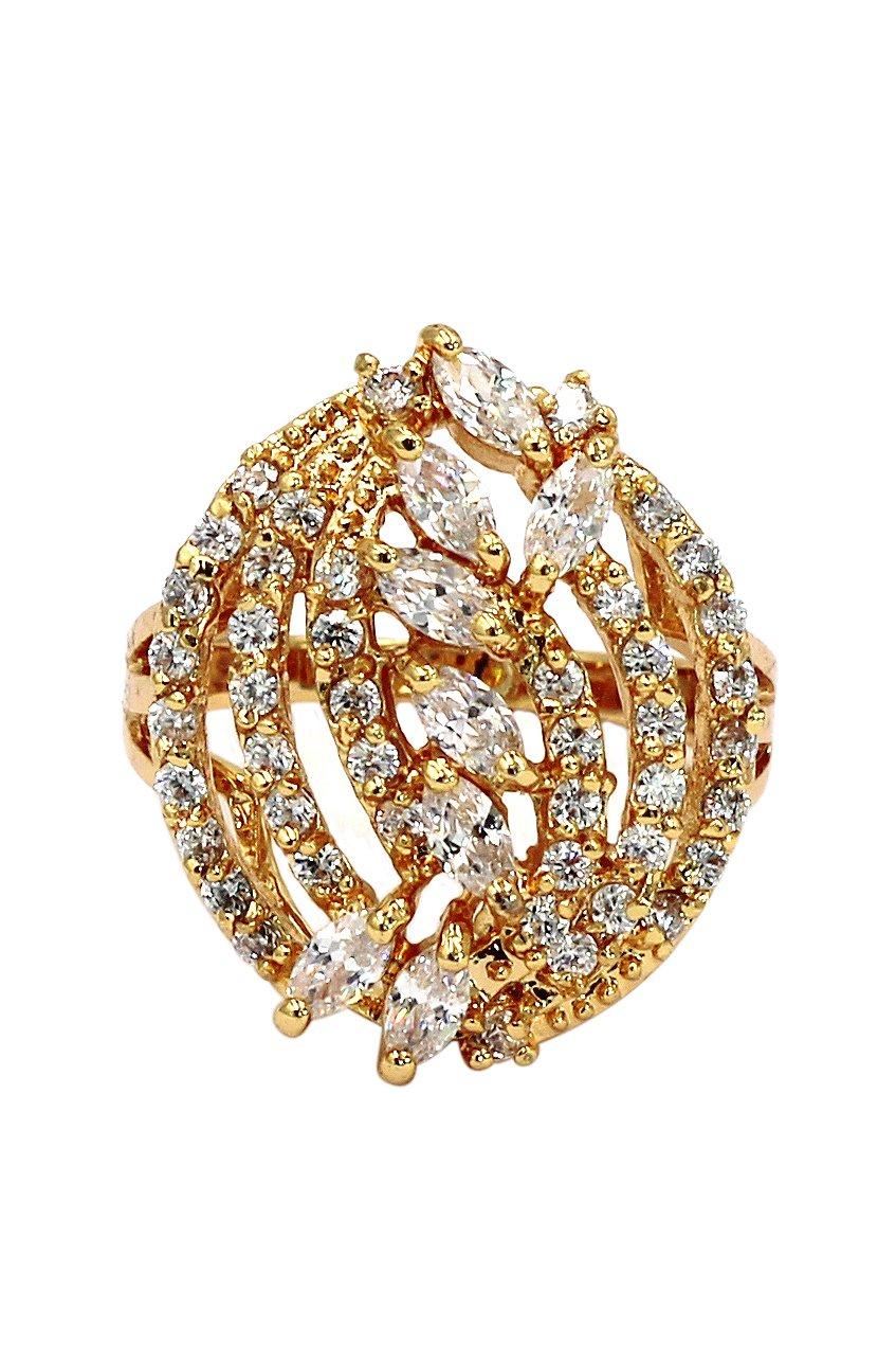 Shining small crystal gold ring