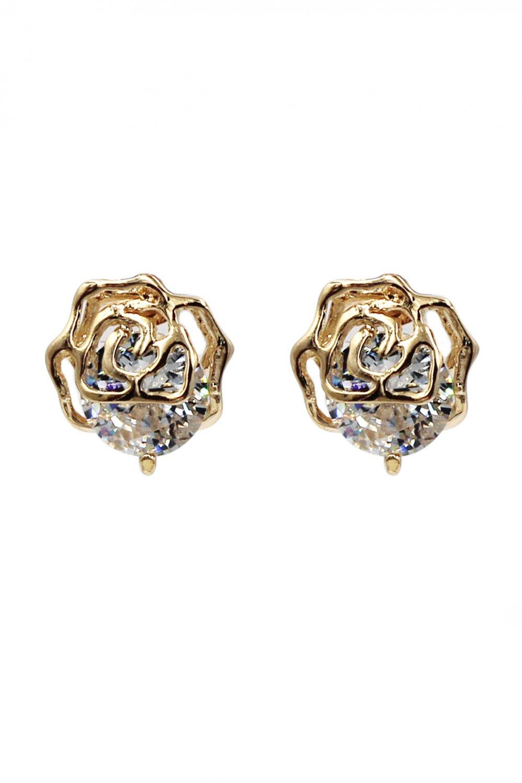 Fashion golden rose crystal earrings