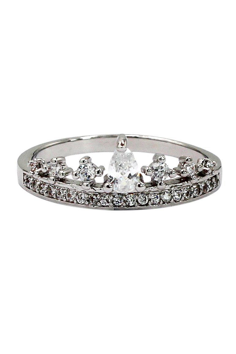 Fashion mini crystal crown silver ring