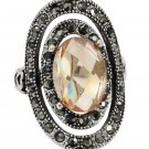 Fashion revolve yellow crystal silver ring