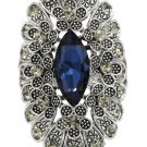 Noble blue crystal flowers silver ring