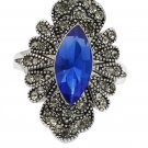 Noble blue heart crystal flower ring