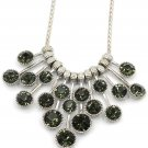Fashion pendant silver circle green crystal necklace