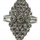 Noble dense green crystal silver ring