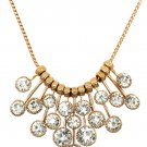Fashion pendant gold circle white crystal necklace