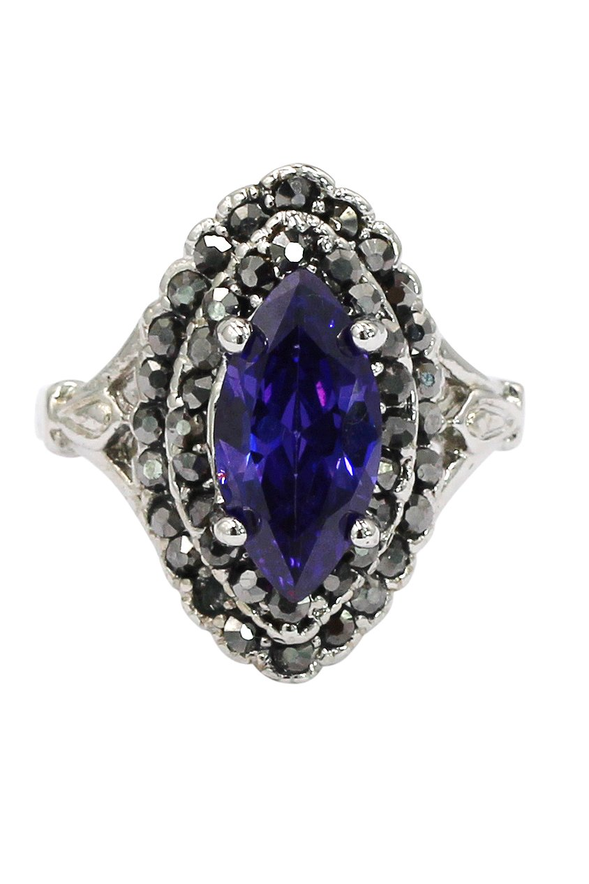 Current purple crystal silver ring