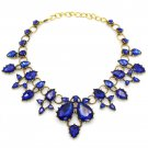 Elegant blue crystal golden necklace