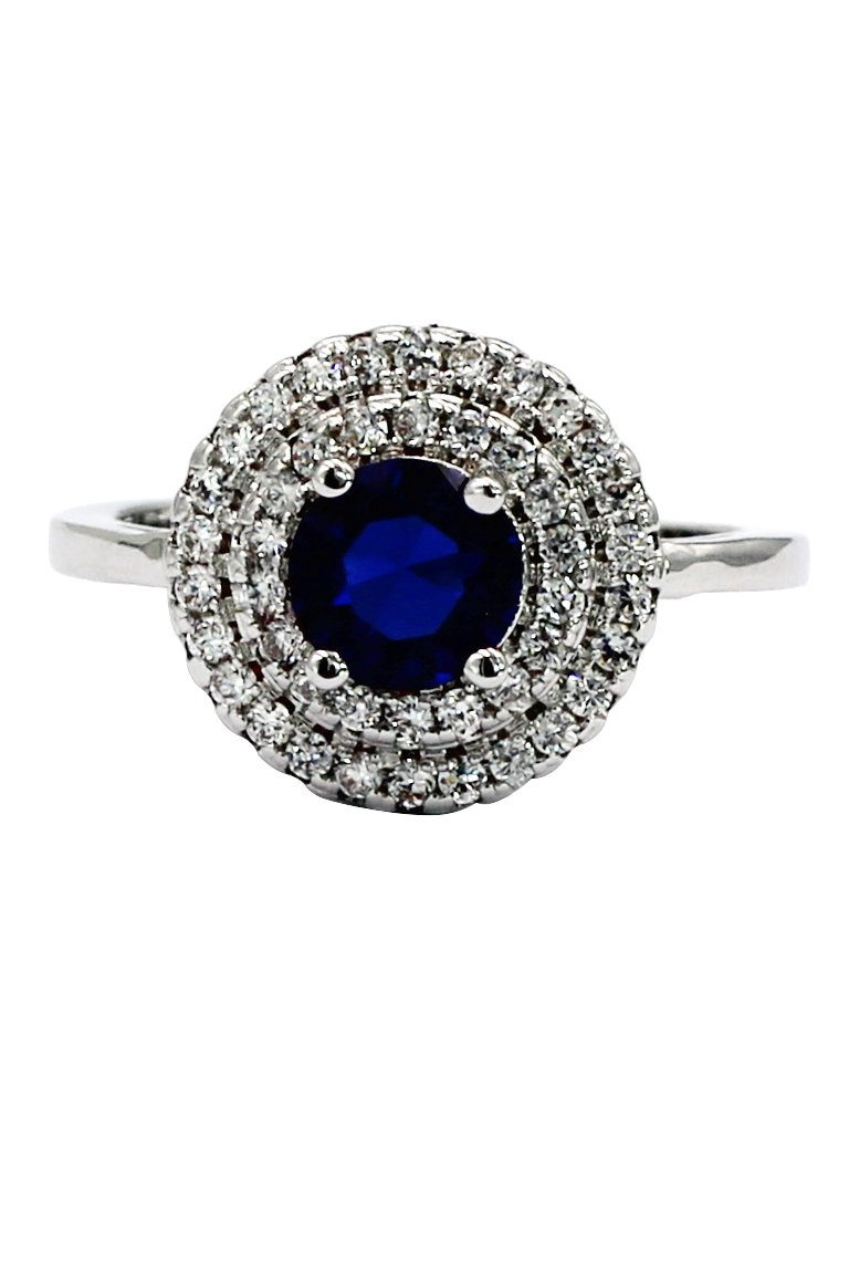 Two layer mosaic small surround blue crystal silver ring