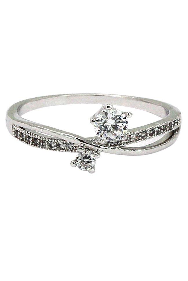 Silver mosaic small crystal ring