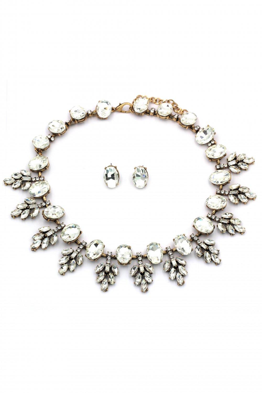 Fashion transparent crystal golden necklace set