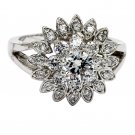 Noble crystal shining flower sivler ring
