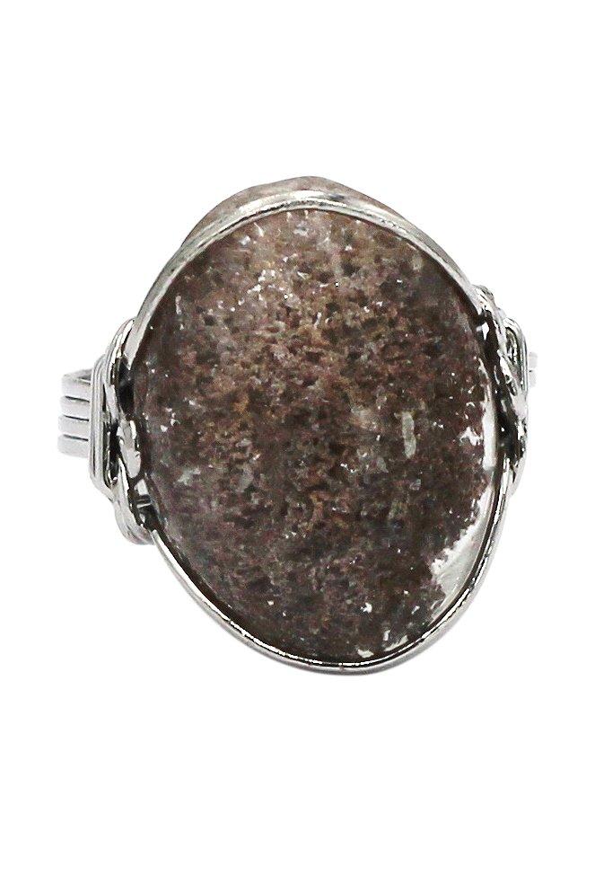 Fashion natural stone silver ring