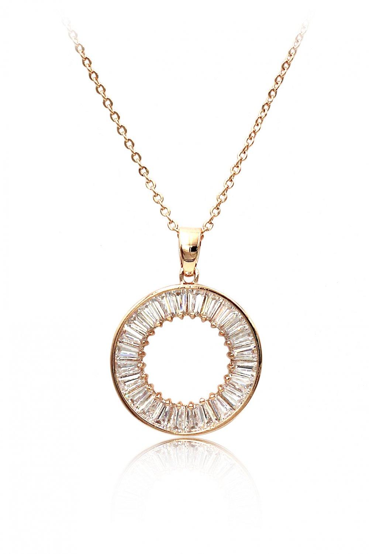 Fashion crystal circle rose gold necklace
