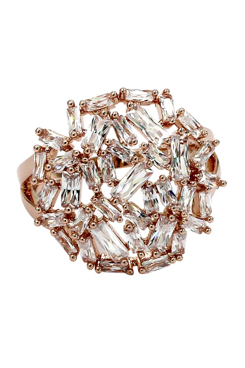 Fashion small square crystal rose gold ring