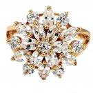 Noble golden crystal flower ring