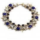Elegant full colorful blue crystal necklace