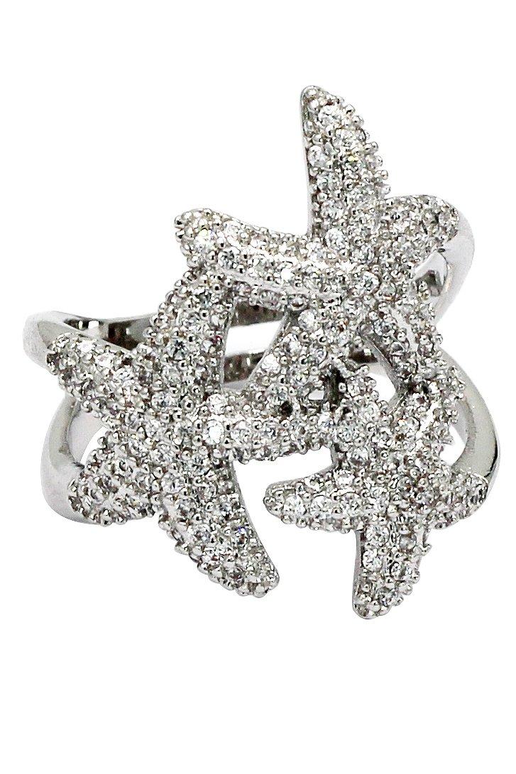 Sparkling Micro-set crystal starfish silver ring