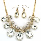 Noble cobblestone crystal necklace earrings golden sets