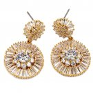 Shining circle crystal gold earrings