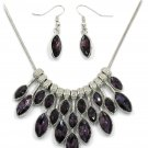 Fashion purple crystal necklace earrings silver sets