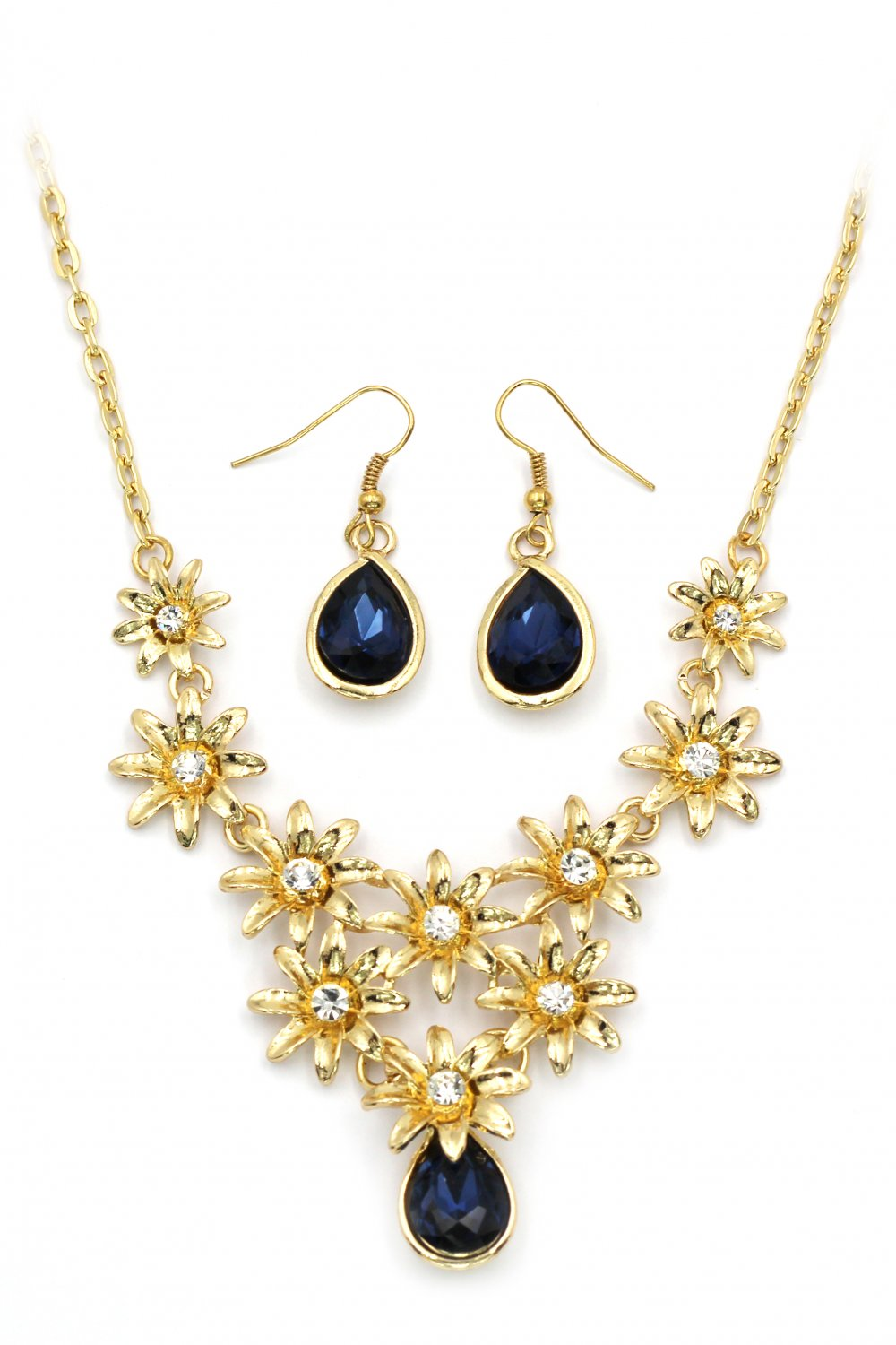 Brilliant golden flower blue crystal necklace earrings set