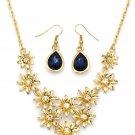 Brilliant golden flower blue crystal necklace earrings set