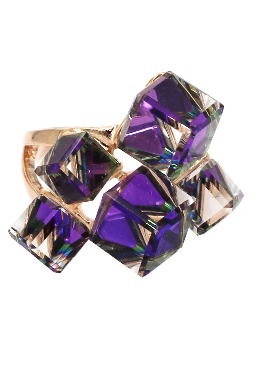 Square candy purple crystal rose gold ring