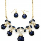 Elegant sparkling blue crystal necklace earrings set
