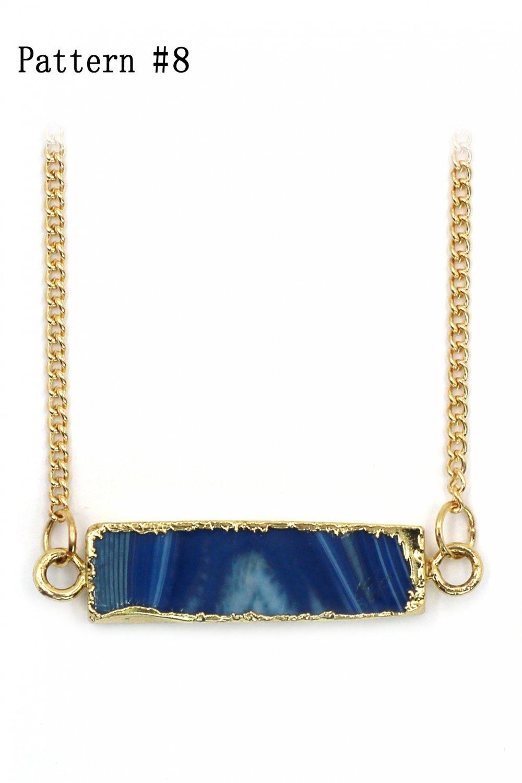 Fashion transparent natural stone golden necklace Pattern #8