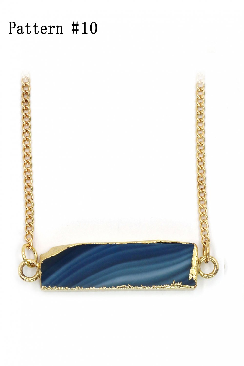 Fashion natural stone golden necklace Pattern #10
